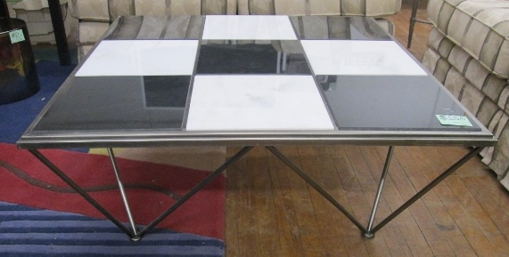 Square Tile & Metal Coffee Table